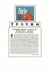1991 Crítica L'ESTRANY GENET Turia